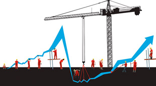 Construction site with financial graph